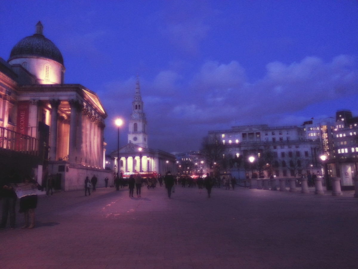 Trafalgar Square at dusk