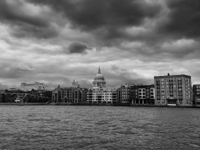 St. Paul's under menacing skies.