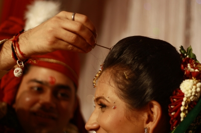 During Rituals in an Indian Wedding