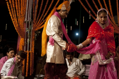 The Bride & the Groom during rituals.