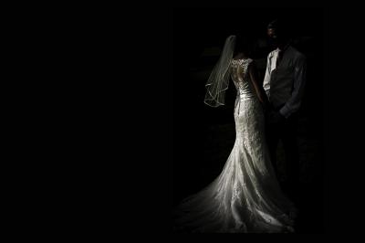 Wedding couple underexposed