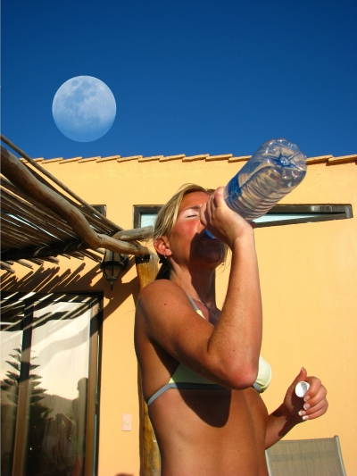 Anyone Thirsty? BTW look at the moon!