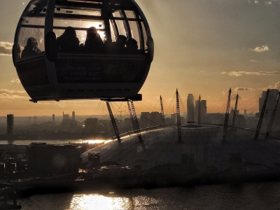 Sunset from a city cable car