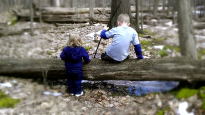 Children on hike through the Woods