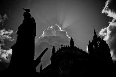 Edinburgh spires in silhouette