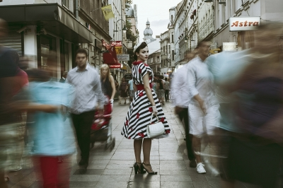 Vintage girl in a modern world