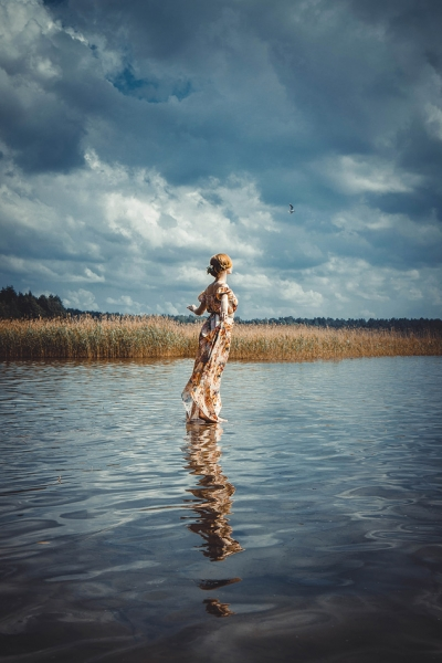 girl, seagull, lake, portrait