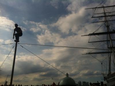 Man up a pole
