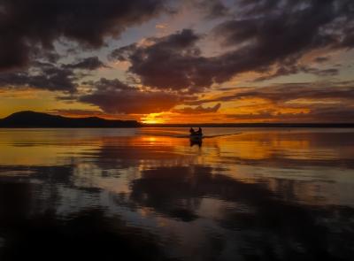 Sunset over Lake Rotorua, New Zealand