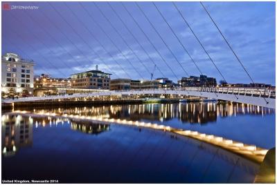 Amazing Sunset in Newcastle (Millennium Bridge along Tyne River)