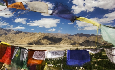 Ladakh landscape between praying flags