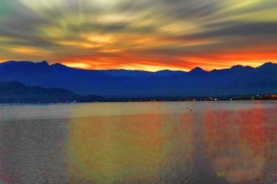 A beautiful sunset behind the mountains in Antalya, Turkey