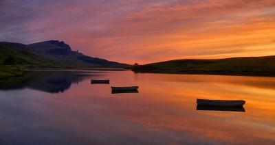 Sunrise on Loch Fada, Isle of Skye, Scotland.