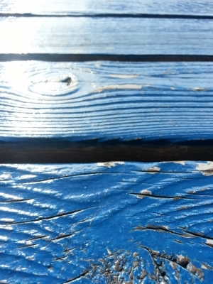 Old blue table
