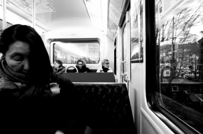 A woman in a train
