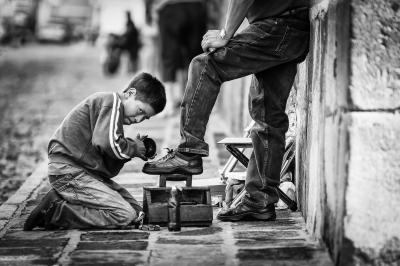 Shoe polishing boy