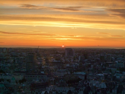 Sunset over London, viewed from atop the London Eye