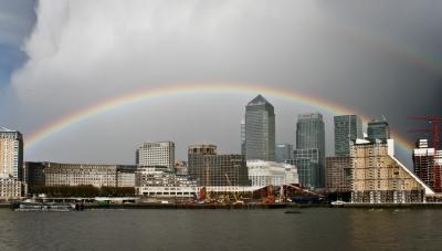 Rainbow over Canary Wharf