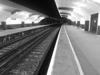 An empty train station
