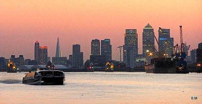 Thames Clipper & Sunset over London