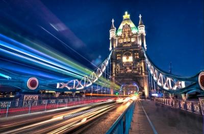 Taxi light trails across Tower Bridge