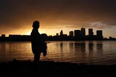 Sunset Mudlark down on the Greenwich Foreshore