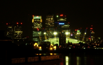Millenium Dome, Canary Wharf and Thames Barrier at night