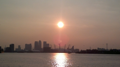 Sunset over O2 and Canary Wharf