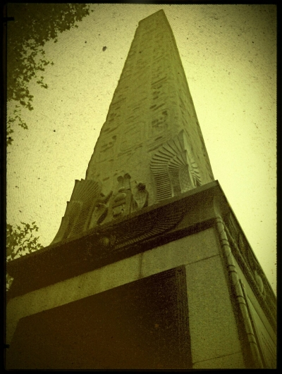 Cleopatra's Needle on the bank of the River Thames.